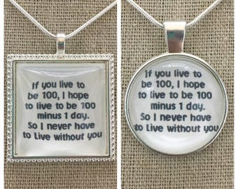 Winnie the Pooh-live to be 100 pendant.winnie the pooh pendant.winnie the pooh jewelry.winnie the pooh quote pendant.winnie the pooh charm