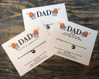 Basketball dad wish bracelet.Basketball wish bracelet.Basketball dad bracelet.Dad wish bracelet.fathers day card.Sport dad gift