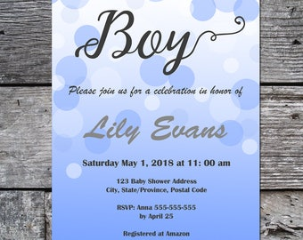 Personalized Baby Shower Invite, Printable Baby Shower Invite, Baby Boy, Instant Download