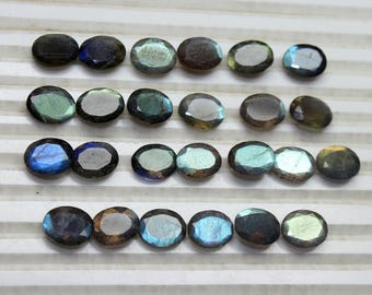AAA Natural Labradorite Faceted Oval cut size- 8x10 MM Approx, 5 PCs Lot Flashy Fire Labradorite Oval 8x10 loose gemstones HL02