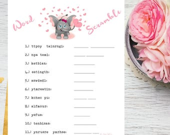 Baby Shower Pink Elephant Word Scramble Printable Game