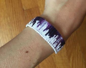 Purple and white wave bracelet