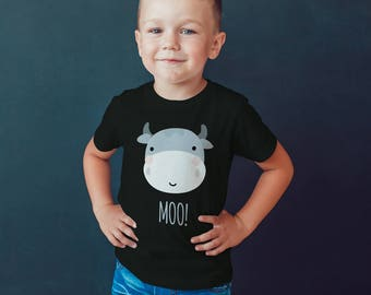 Moo Cow toddler tshirt, Children's Shirt, Funny Kids Shirt animal Tee, youth, Playground t-Shirt, funny cute baby ,gifts for toddler