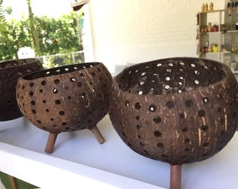 Free Shipping 4x4.5 Handmade Coconut Shell Candle Holder made in Thailand for your Home Decor