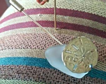 Beachy sea glass gold tone stick pins