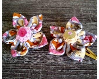Fabric Flower Hairclip Fox Print