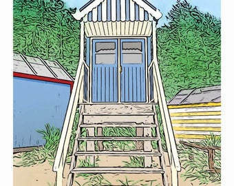 Holkham Beach Hut Print