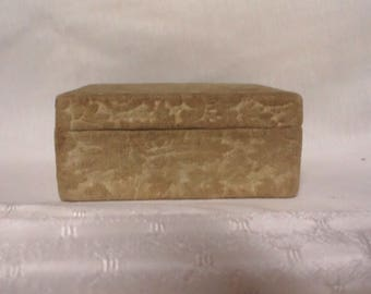 Antique Victorian Gold velvet burn out cloth covered Dresser cardboard Jewelry keepsake box
