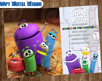 Ask the StoryBots Digital Party invitation customize invite birthday thank you card