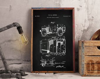 Willy's Jeep patent print art - Vintage printable patent poster artwork drawing - Instant Digital download - Wall art decor