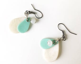 Icy Teardrop Polymer Clay Earrings with Charm