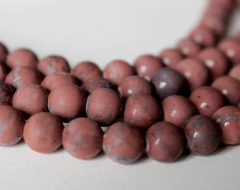 6mm Frosted Red Jasper, A grade, full strand, natural stone beads, round, 60032
