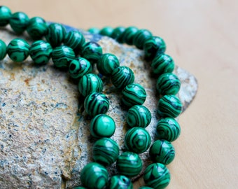 4mm Malachite beads, full strand, natural stone beads, round, 40003