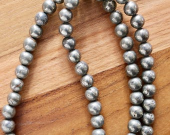 6mm Pyrite beads, full strand, natural stone beads, round, 60029