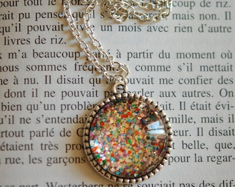 Kaleidoscope necklace and multicolored sequins