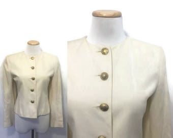 Cream Blazer | 1950s Style with Gold Buttons | Womens Vintage Clothing