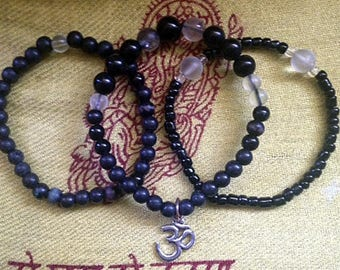 "Set of 3 Stackable Bracelets With ""Om"" Charm"