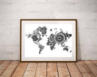 World map mandala etsy world map mandala printable original hand drawn map wall art instant download travel gumiabroncs Choice Image
