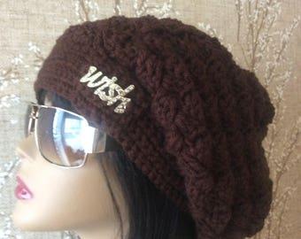 Wish Brown Slouchy Beanie, Brown Slouchy Hat, Brown Hat, Brown Winter Hat, Brown Beanie, Brown Crochet Hat, Brown Women's Hat.