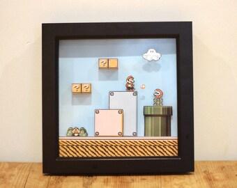 Mario 3D Shadowbox Diorama