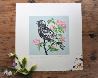 Song Bird on Apple Blossom, limited edition linocut, mounted, unframed