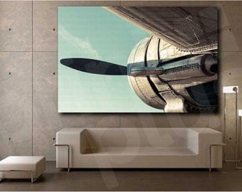 Airplane Retro Back View Plane Propeller Art Canvas Poster Print Home Wall Decor