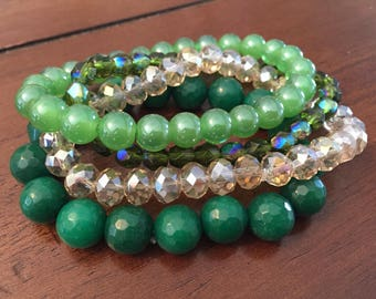 Green & Neutral Stone and Glass 4-pc Bracelet set