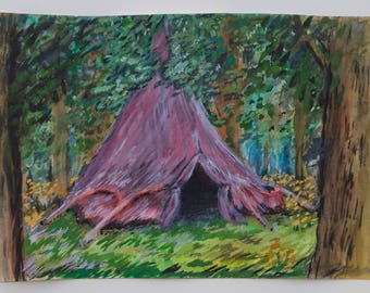 Tent in the Woods ORIGINAL Painting