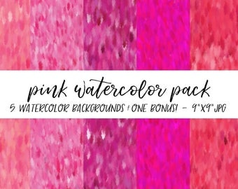 Watercolor Backgrounds Pack, Textures Bundle, Watercolor Digital Paper, Pink Watercolor Background, Watercolor Background