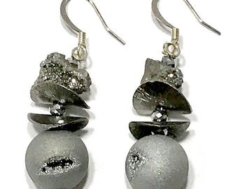 Silver Druzy Dangle Earrings