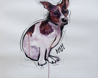 Dog Jack Russell - ink