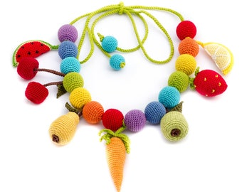 Fruit teething necklace Nursing necklace Sensory baby toy Gift for young mom Breastfeeding necklace Crochet teething toy Organic cotton toy