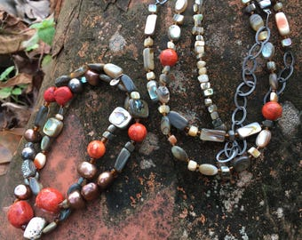 Happy FIESTA FUN Necklace & Tuscan Sun Bracelets Sterling Silver Coral Abalone Shell
