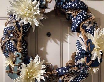 Navy Burlap Wreath