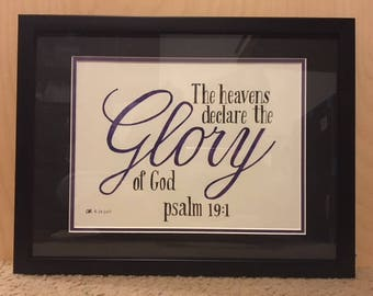 Hand Lettered Bible Verse | Psalm 19:1