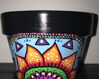 Colorfull Hand Painted Clay Flower Pot