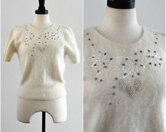 Ivory Angora Winter Sweater Top/ Fuzzy Shirt with Pearls and Rhinestones/ Vintage/ Small