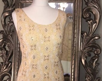 Vintage 1950's Hand Beaded top, Ivory and gold- Highly embellished and excellent condition. UK Size 12, US Size 8.