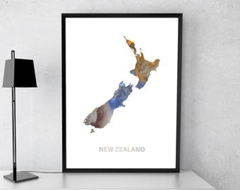 New Zealand poster, New Zealand art, New Zealand map, New Zealand print, Gift print, Poster