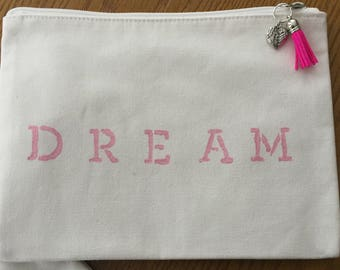 """Bag Hand Painted cotton Lined Muslin """"Dream"""" bag with Tassel and Charm Zipper Pull in Aqua Pearl or Taffeta Rose"""
