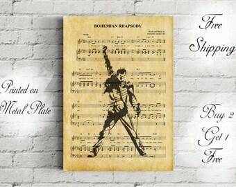 Queen Bohemian Rhapsody Music Art Metal Print-Queen Vintage Art Print-Freddie Mercury Fan Art Print-Freddie Mercury Wall Decor-Queen Print