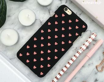 Love Heart iPhone Case iPhone 8 Case iPhone 8 Plus Case iPhone 7 Case iPhone 7 Plus Case iPhone 6S Case iPhone 6S Plus Case Matte Black Pink