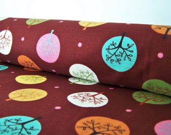 Coupon patterns trees, 50 x 50 cm, cotton fabric