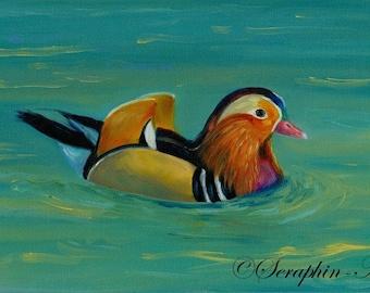 Wildlife Mandarin Duck Original Oil Painting