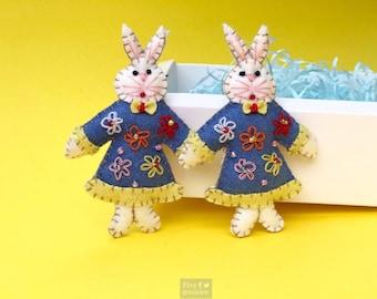 "2x4"" hand stitched rabbits in blue dress hanging / felted felt bunny decoration / felt hanging ornament chic felt / easter primitive decor"