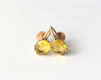 Antique Art Deco 14ct Rose Gold Faceted Yellow Paste Stone Screw Back Earrings