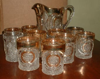 Antique Victorian Pressed Glass Pitcher and  10 Glass Tumblers  W//Heavily Gilded Edges