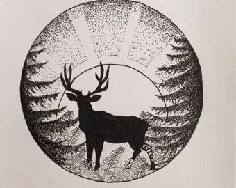 """A5 print """"deer in the morning light"""""""