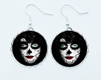Dia De Los Muertos Earrings Pendant Necklace Ring or Pin Badge Mexican Day Of The Dead Candy Skull Spooky Halloween Jewellery