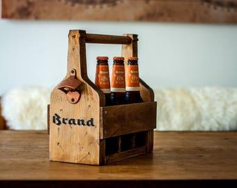 Wooden 6 Pack Beer Carrier with Bottle Opener - Houten bierkratje - Vaderdag Cadeau - Fathers Day Present - Groomsmen - House warming gift